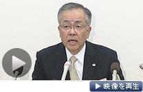2012年3月期決算を発表する日立製作所の中村豊明副社長
