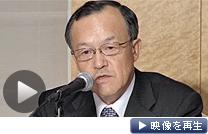 オリンパスの高山修一新社長が就任記者会見を開いた(26日、東京都新宿区)