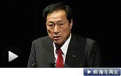 講演するみずほフィナンシャルグループの佐藤康博社長